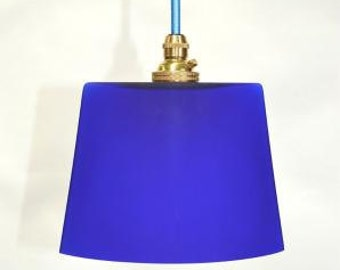 Small vintage handmade Italian blue glass ovoid pendant light hanging lamp G3