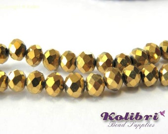 Faceted Glass Briolette Beads, Glass Rondelle Beads 6mm - Gold Metallic