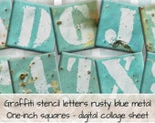 Vintage graffiti letters turquoise blue metal background World War 2 1-inch squares 0173