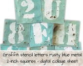 Graffiti Stencil Lettering on World War 2 Rusted Blue Metal 2-inch squares 0174