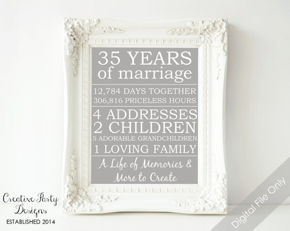 35th Wedding Anniversary Gift Ideas For Parents: Items Similar To 35th Anniversary Gift
