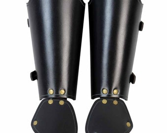 Squire's Leather Gauntlets - Medieval Leather Bracers - Leather Vambraces - #DK6083