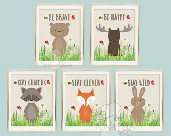 Nursery wall art print Printable kids gift Stay curious Wall art Decor illustration nursery decoration  quotes woodland animal print 146