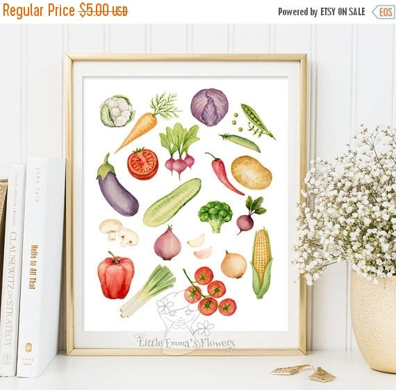 Kitchen Decor Vegetables: Kitchen Wall Art Vegetables Print Decor By LittleEmmasFlowers