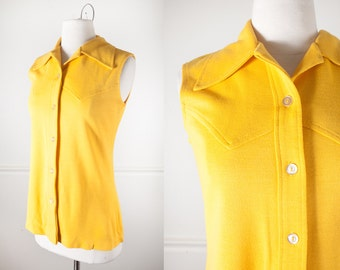 Mod 60s Blouse, Yellow Blouse, 60s Top, Retro Top, Sleeveless Tunic Top, 60s Mod Shirt, Mod Blouse Bright Yellow Shirt 70s Top Western Shirt