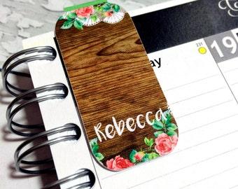 Personalised Magnetic Bookmark or Planner Bookmark. Woodgrain and Flowers