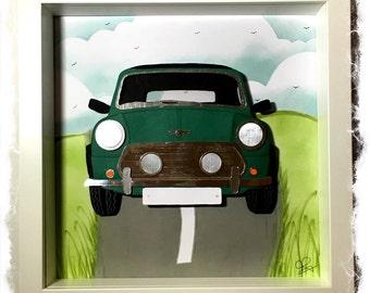 Classic Mini Cooper in Green / Mini Cooper Collage / 3D papercut Picture - Small Shadow box frame