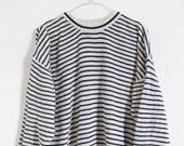 Vintage Strick Pullover Boyfriend Oversize Top Shirt Gr. S M Baumwolle Streifen 80s maritim Top Strick Matrose Fischer Sailor Sweater