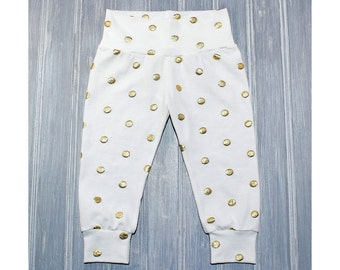 White and Gold Leggings - Gold Dot Leggings - Girls Leggings - Baby Leggings - Toddler Leggings - Girls Pants - Baby Pants - Size 0-3M- 6
