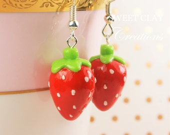 Red Strawberry Earrings Miniature Food Jewelry Polymer Clay Food Handmade Gift Girl Strawberries Sterling Silver