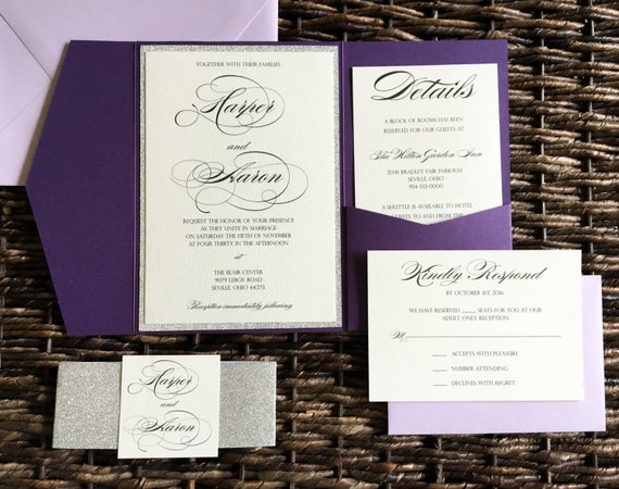 Silver And Purple Wedding Invitations: Purple And Silver Glitter Wedding Invitation Plum Pocket