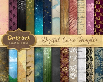 Digital Paper Sampler Variety Pack Promotional Item, sample textures, scrapbook paper, digital backgrounds and backdrops, commercial use