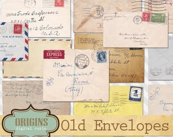 Old Envelopes Clipart, Envelope Clip Art, Retro Old Letters, Old Paper Textures, Handwritten Letters Paper Ephemera Instant Download