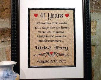 41st Anniversary | 40 Years Together | Years Months Weeks Days Hours Minutes Seconds | 41st Wedding Anniversary Gift Wife (ana207-41)