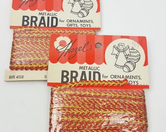 Vintage trim Hazels Metallic Braid gold and red two 5-yard packages for ornaments crafts sewing