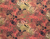 Elephant Jungle Fabric - Oranges Browns Yellow 1301 -  Gina Rivas for Elizabeth StudioQuilters Cotton - I/2 Yard Only