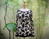 Summer Crochet Sweater, Loose Knit Cotton Sweater, Black and White Sweater, Open Work Sweater
