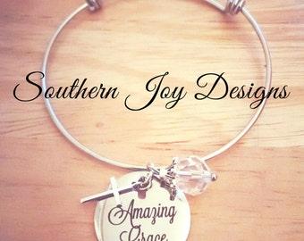 Amazing Grace Bangle   Christian Bracelet   Silver Bangle