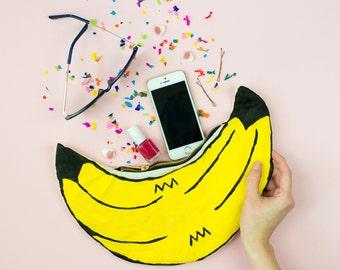 Banana Bag Zip Pouch Clutch Purse