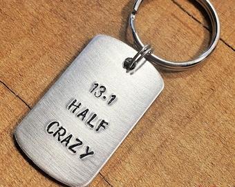 13.1 Keychain - Half Marathon Keychain - Gift for Runners - Half Marathon Gift - 13.1 Key Ring - Half Crazy - Half Marathon Keyring