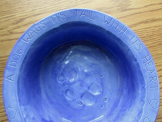 Large Dog Bowl -- Joe Bowl in French Blue Glaze, Ceramic Dog Bowl, A Dog Wags Its Tail With Its Heart