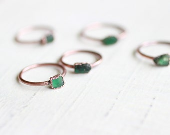 Raw Emerald Ring Copper Ring Electroformed Ring Emerald Ring