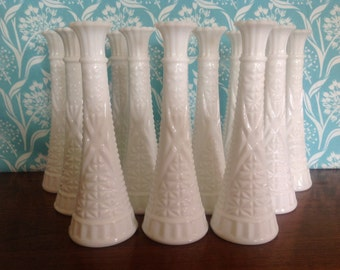 12 tall Milk glass vases, Anchor Hocking vases, 9 inches tall, milkglass, matching vases, wedding centerpiece