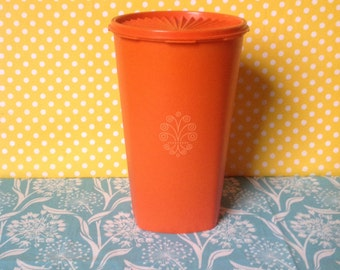 Orange Tupperware canister, tall tupperware canister, servalier canister, 1222