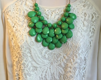 Kelly Emerald  Green Bubble Bib Beaded Chandelier Layered Statement Necklace with Free Matching Earrings