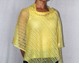 New Summer Ponchos- boho chic clothing -Linen knitted- yellow Cape - Linen Womens Boho- poncho knitted linen wrap