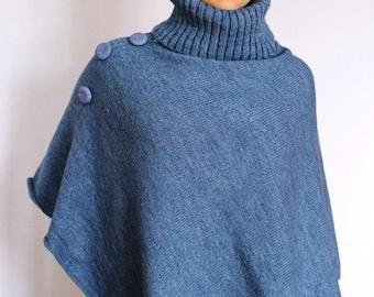 Wool Poncho Coat with collar / Women Cape Coat / wool Poncho Coat   Long Sleeve Trench Coat   Wool Vest