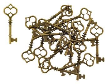 Mandala Crafts®  Antique Brass Tone Retro Skeleton Key Pendants, Box of 20
