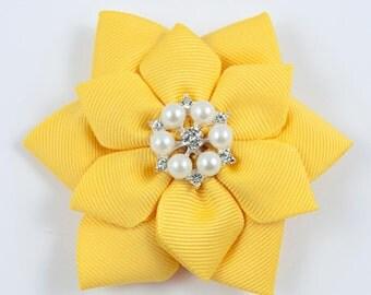 Yellow Hair Bow - Yellow Flower Hair Bow - Flower Hair Bow - Yellow Flower Bow - Yellow Flower Hair Clip (Item #10297)