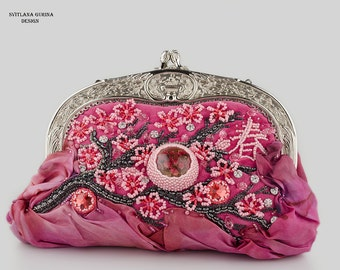 Pink bridesmaid purse Pink handbag Framed purse Sacura Women pink bag Evening pink purse Pink bridal purse Floral Clutch Pink handbag her