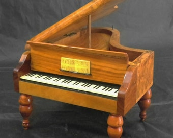 Vintage Reuge Olive Wood Piano Music Box