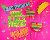 Mexican Fiesta Wedding, Photo Booth Props, Fiesta Party Prop, Photo Booth, Cinco de Mayo, Piñatas, Decorations, Bachelorette, Set of 6 Props