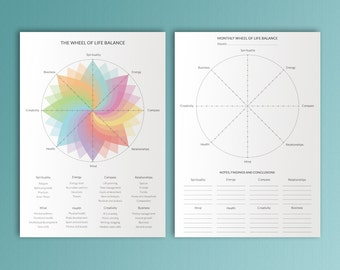 Life Balance Wheel Printable A4 Time and Money Management Household Spiritual Growth Goals Personal Development Instant Download.