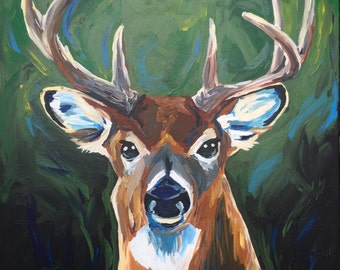 Deer art, deer decor.  White tail deer print from original deer painting