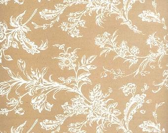 Floral design on Tan background tissue paper # 343 ..... 10 large sheets, 20 x 30 - flower