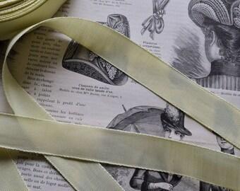 Antique fench silk satin ribbon, 1870s