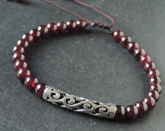 Men's Women Garnet Adjustable Braided Bracelet 925 Stamp Sterling Silver Lucky Charm DiyNotion BR982