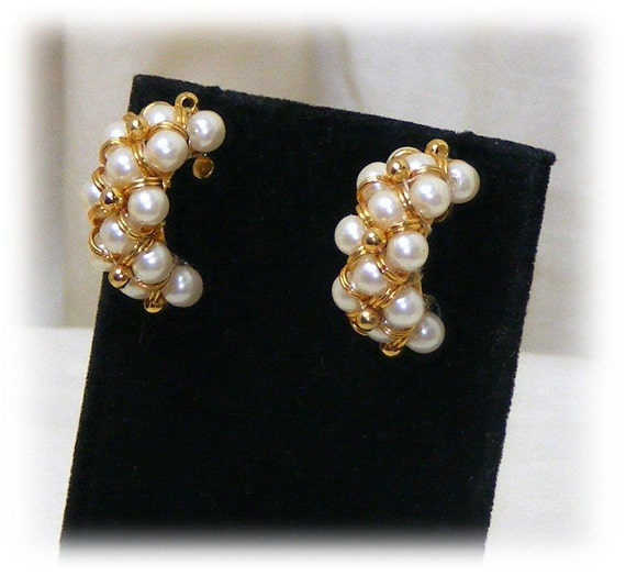 "BEAUTIFUL ""C"" EARRINGS . . . pierced . . (never worn)"