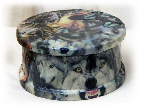Ceramic WOLVES TRINKET BOX. . . custom decoupaged