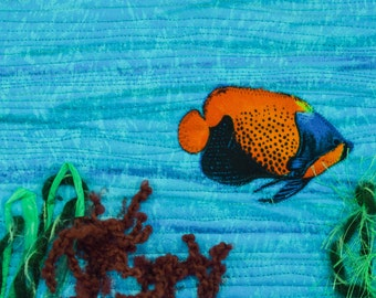 Fiber Art, Wall Hanging, fish Art Quilt, fiber art, Miniature, home decor, abstract art quilt, wall art quilt, contemporary, fish, ocean