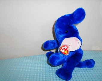 """Beanie Buddy Bright Royal Blue Elephant """"Peanuts""""/Adorable and Super Soft and Cuddly/New With Tags and Tag Protector/12"""" Tall!"""