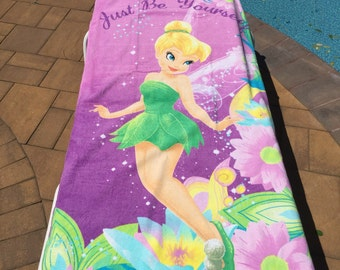 Tinkerbell Pretty Girl Beach Towel, Pink - Personalized Beach Towel