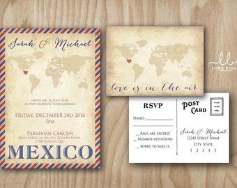 Air Mail Vintage Postage Postcard world map Wedding Invitation Set Made to Order