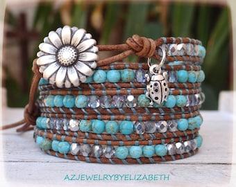 Turquoise Bracelet, Flower Bracelet, Leather Wrap Bracelet, Beaded Leather Wrap.