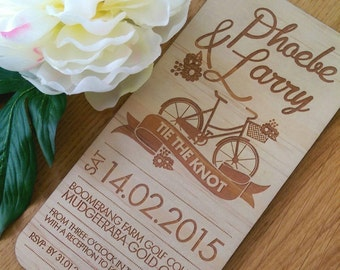 Rustic Wedding invitation, bicycle design. Laser Etched Wooden Invitation. DL size - 10 Pack