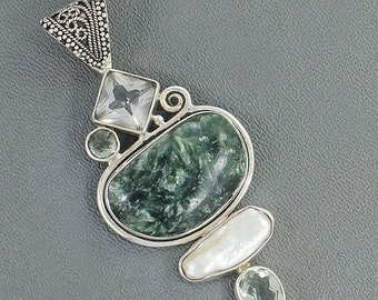 On Sale Natural Fossil Seraphinite, Clear Quartz, Fresh Water Pearl, Green Prasiolite Multi Gemstone Pendant - 925 Sterling Silver Pendant J